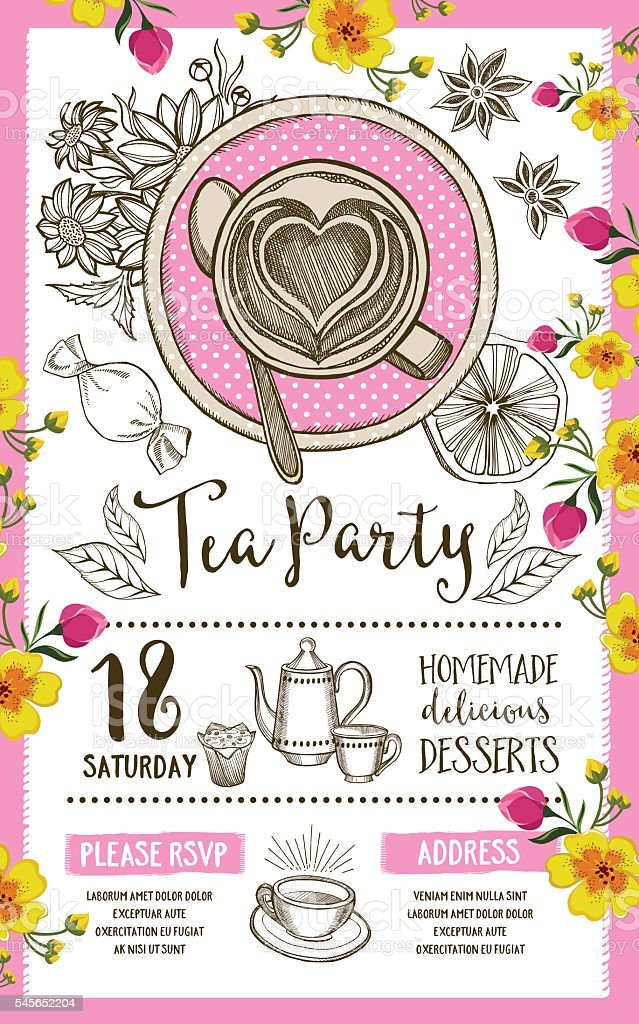 100+ [ Tea Party Invitation Template Badbrya ] | Belated Birthday ...