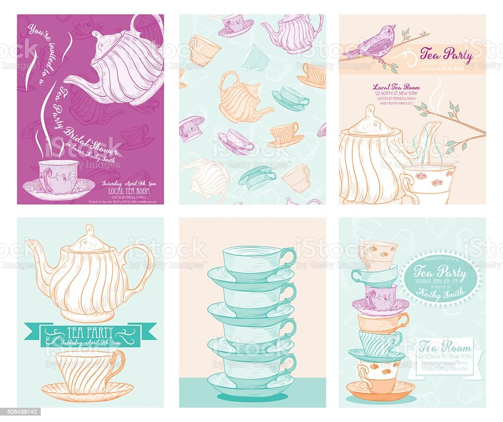 tea party invitation template set stock vector art more images of