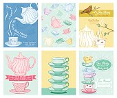 Tea Party Invitation Templates.  There are stacked teacups with saucers, teapot pouring tea, tea seamless pattern. There is a cute bird perched on a branch about a tea service.  There are banners and frames for invitation text.
