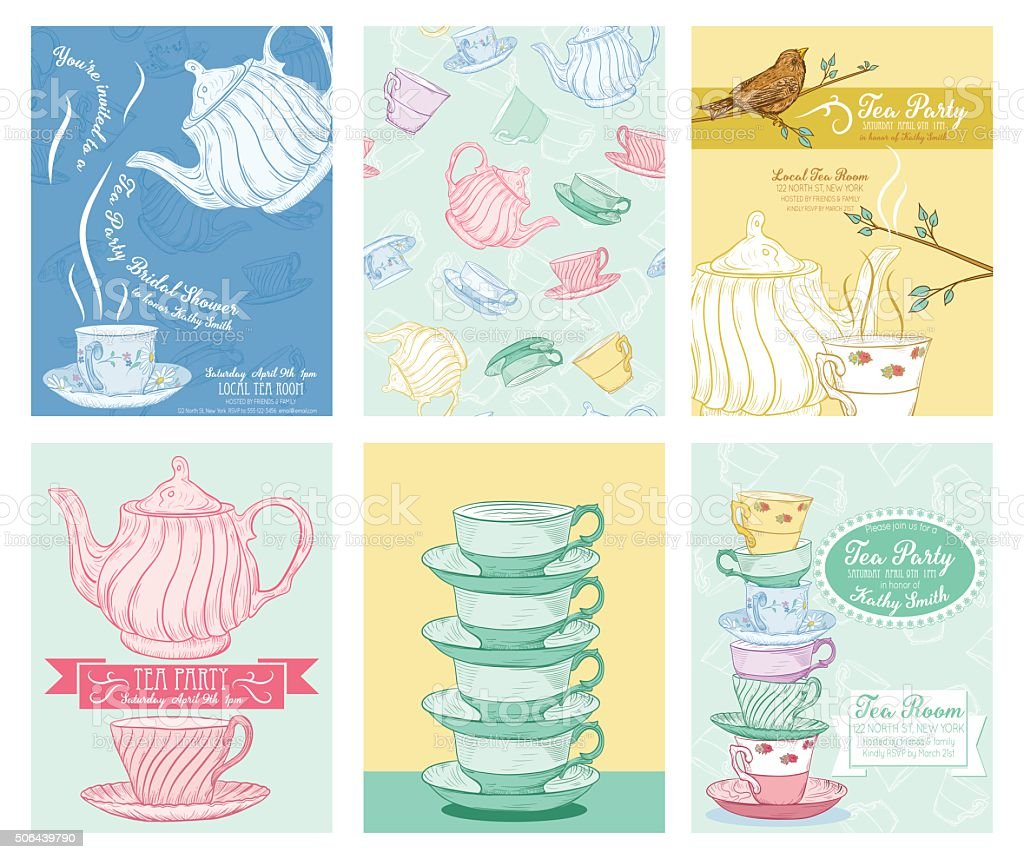 Tea Party Invitation Template Set vector art illustration