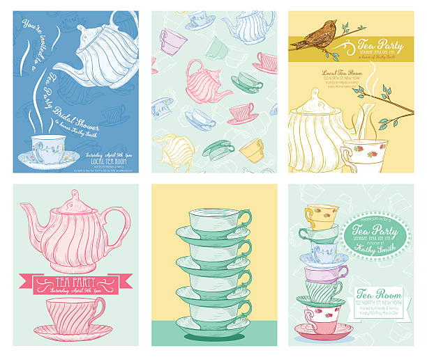 tea party invitation template set - stacked tea cups stock illustrations, clip art, cartoons, & icons