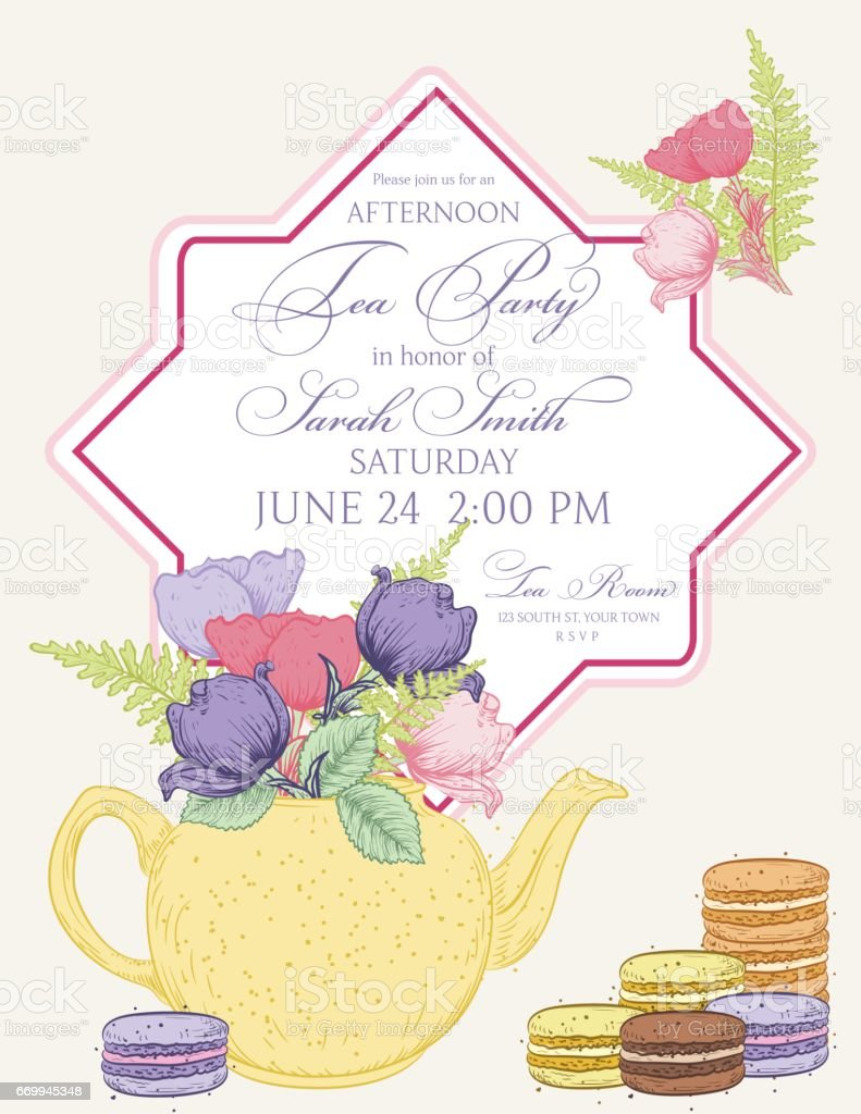 Tea Party Invitation Template With Text Frame royalty-free tea party invitation template with text