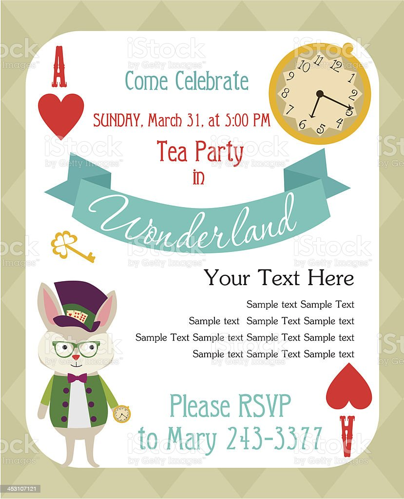 Tea Party Invitation Stock Vector Art More Images Of Alice In