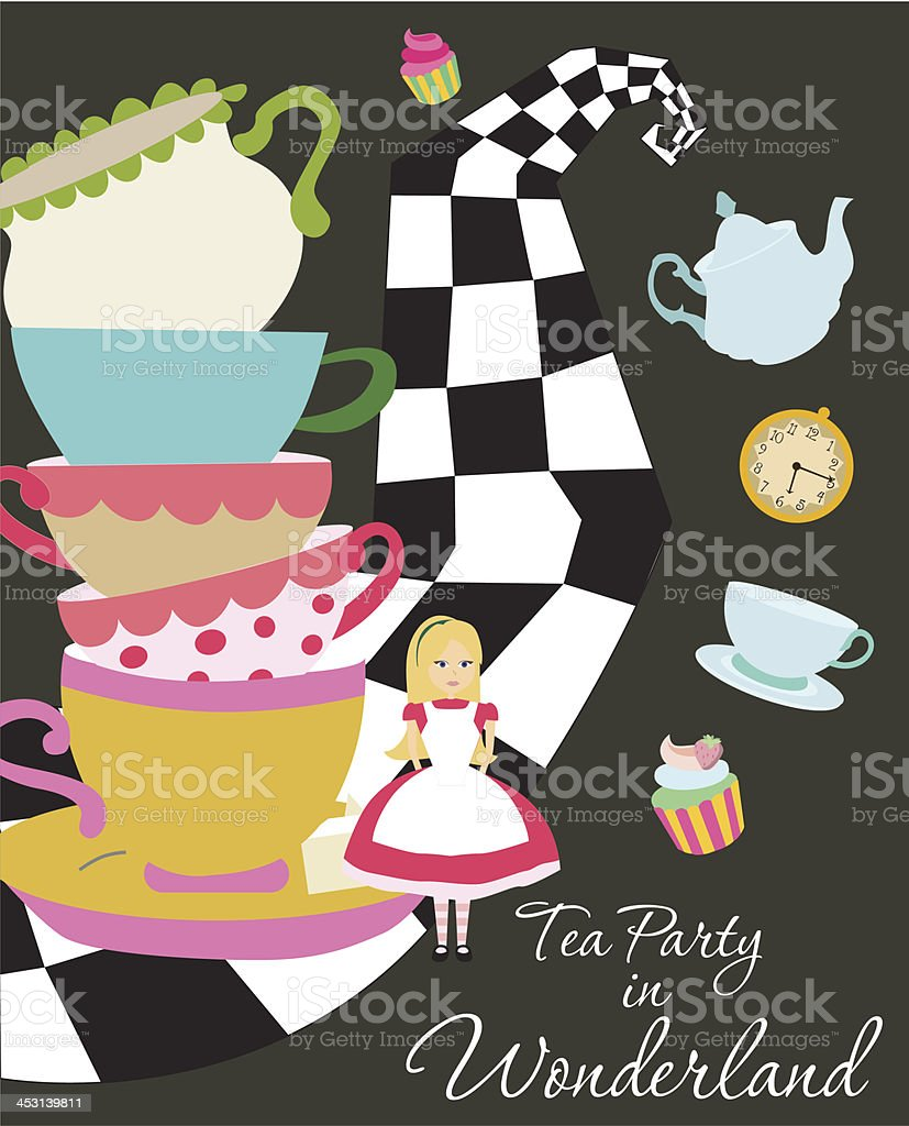 Tea Party Invitation Stock Vector Art & More Images of Alice in ...