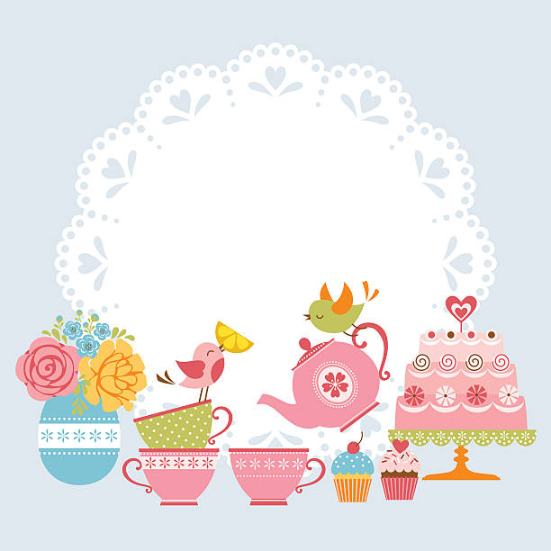 Tea party invitation Tea party invitation with cute birds and place for your text. teapot stock illustrations