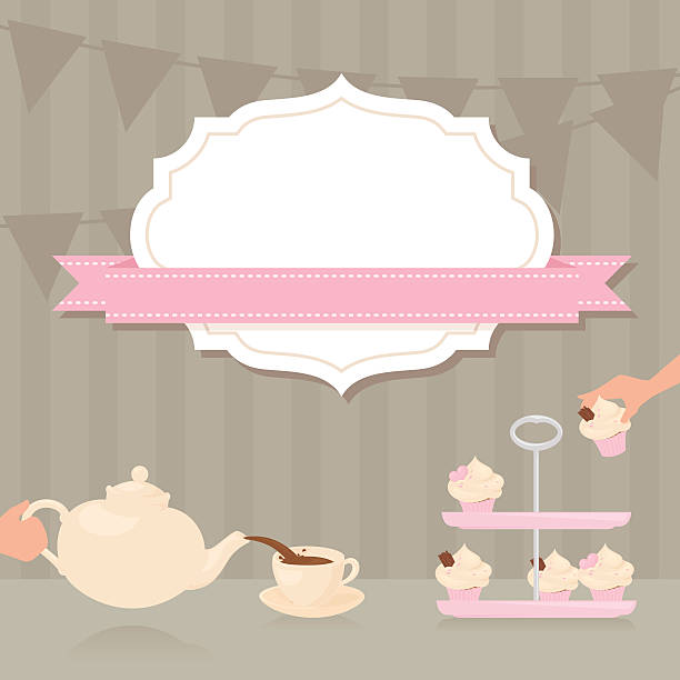 Tea Party Invitation Tea Party invitation with copy space. cakestand stock illustrations