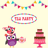Tea party invitation with cute owls holding teapot and cup