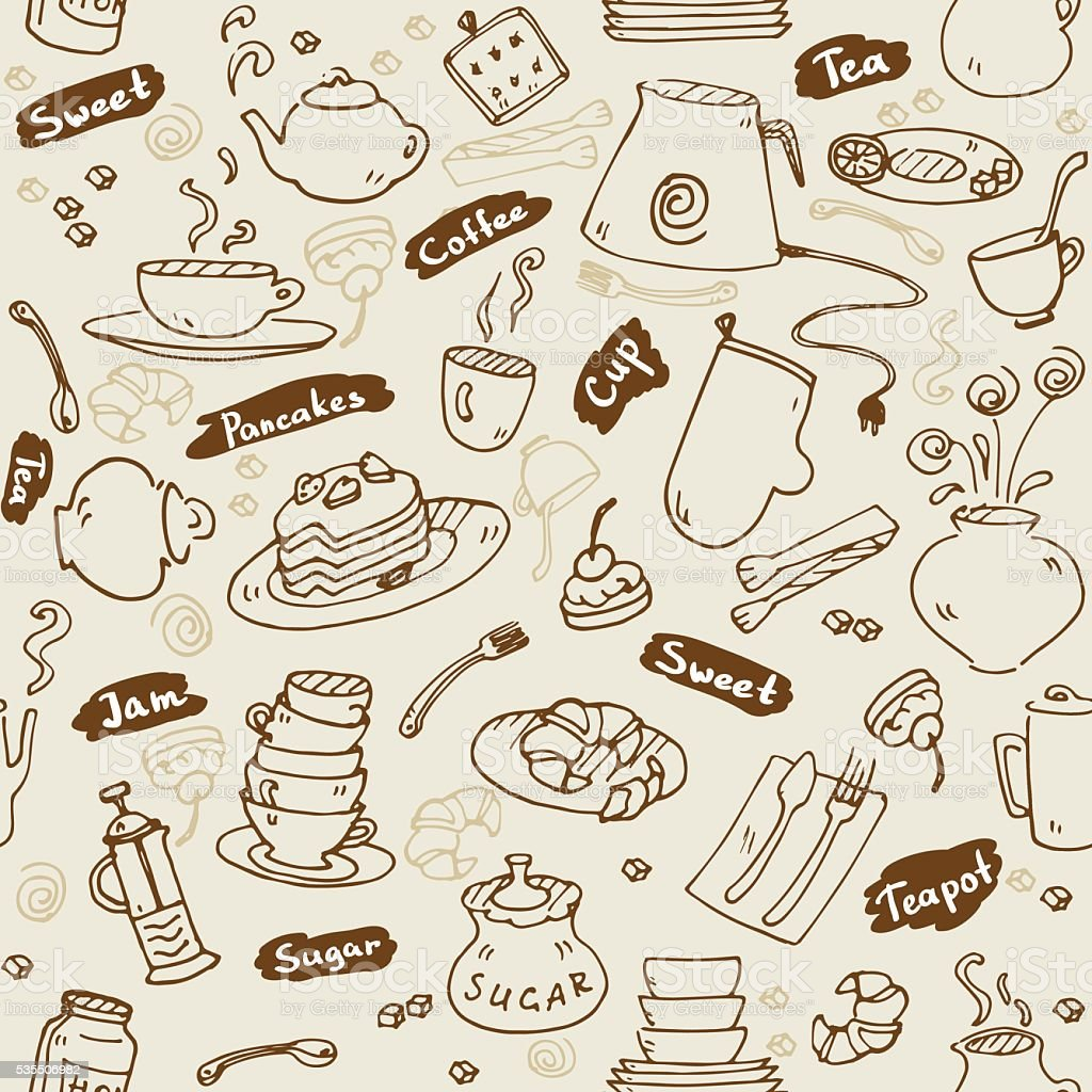 Tea Party Kitchen Tools Seamless Pattern Vector Sketch Vintage Style ...