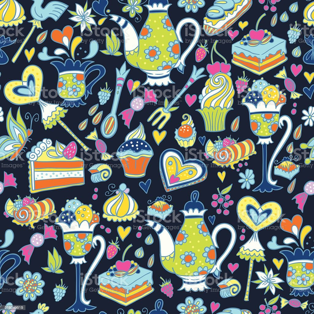 Tea party pattern background royalty-free tea party pattern background stock vector art & more images of backgrounds