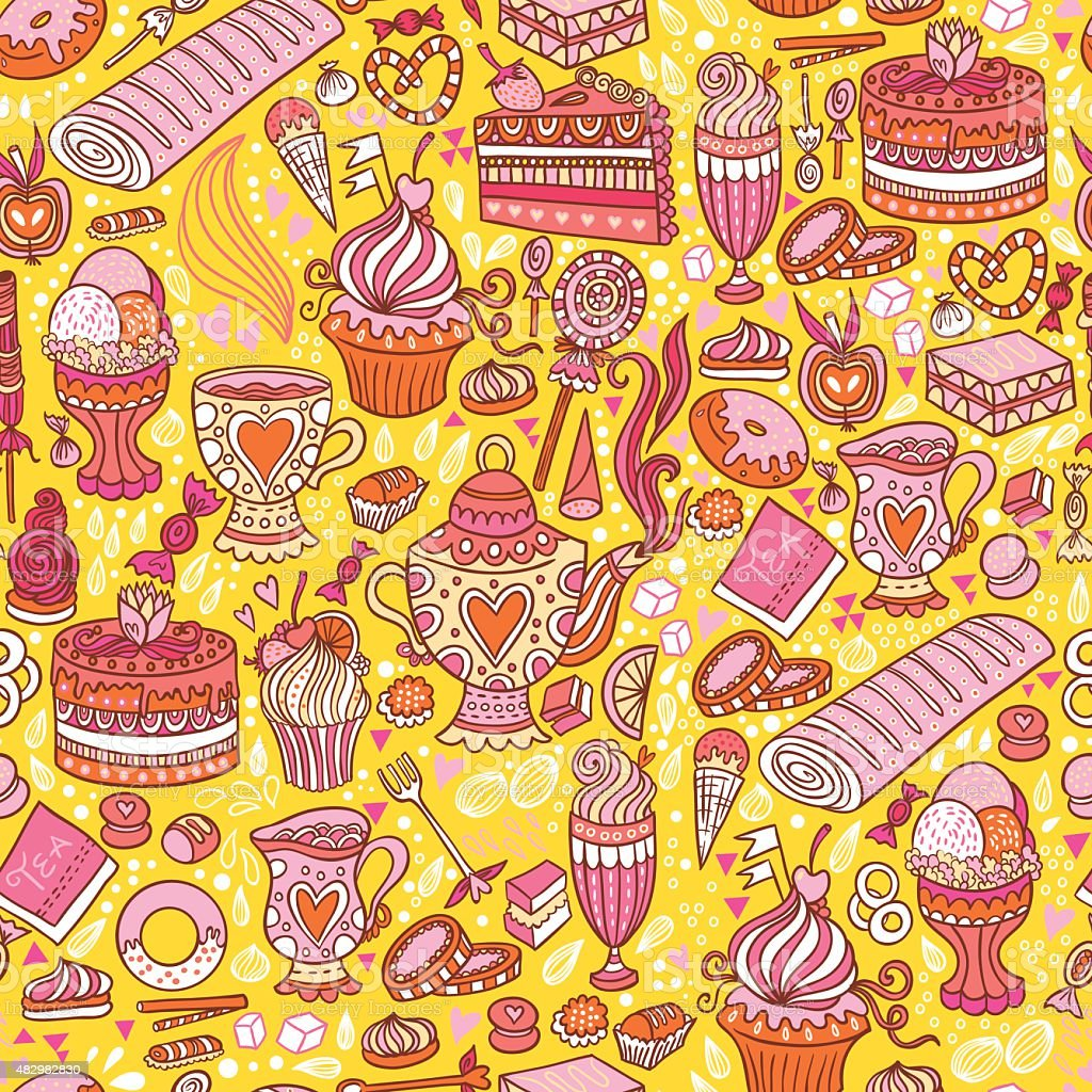 Tea party pattern royalty-free tea party pattern stock vector art & more images of 2015