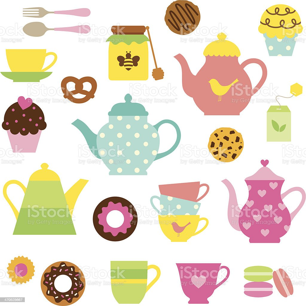 Tea Party Set vector art illustration