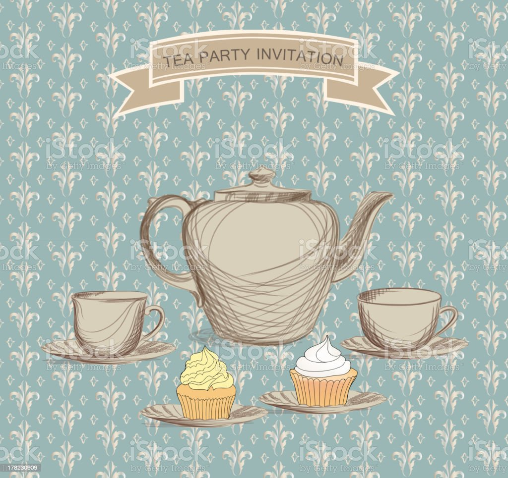 Tea Party Vector Background In Victorian Style stock vector art ...