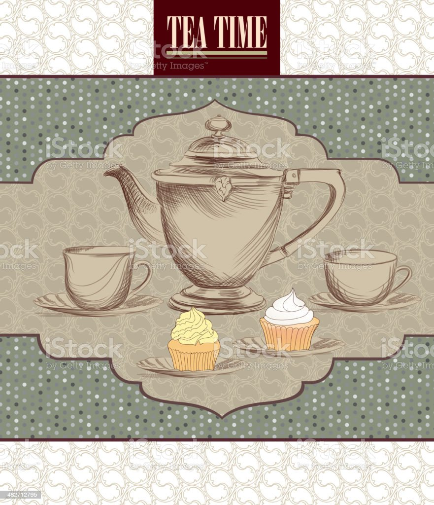 Tea party vector background in Victorian style.. royalty-free stock vector art