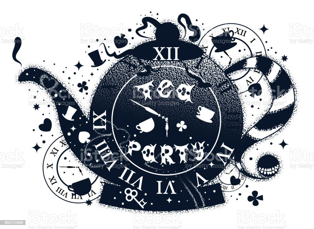 Tea party vintage illustration with teapot. Alice in wonderland motifs. Tattoo art and double exposure style. Hand drawn lettering phrase.