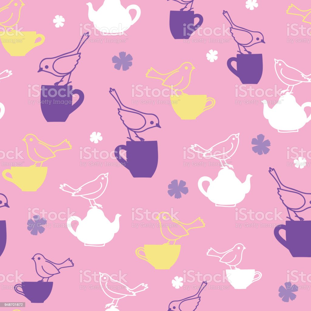 Tea Party With Birds Teatime Seamless Pattern Stock Illustration Download Image Now Istock
