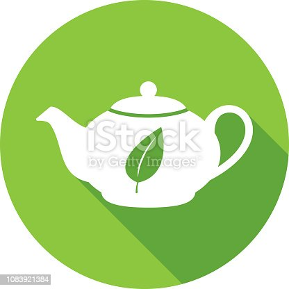 Vector illustration of a green tea pot with leaf icon in flat style.