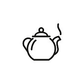 Tea pot line icon. Drinking, warm, delicious. Tea concept. Vector illustration can be used for topics like home, daily life, morning and evening