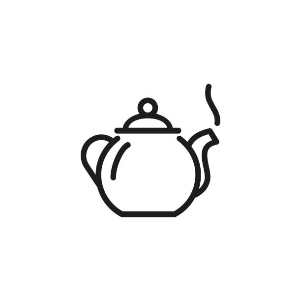 Tea pot line icon Tea pot line icon. Drinking, warm, delicious. Tea concept. Vector illustration can be used for topics like home, daily life, morning and evening teapot stock illustrations
