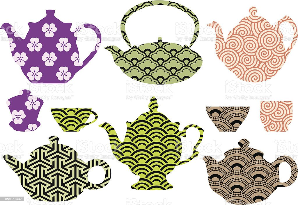tea pots and cups with asian pattern, vector royalty-free stock vector art