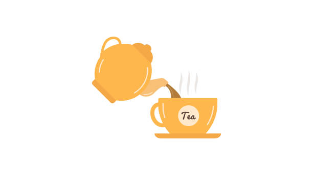 Tea pouring cup kettle icon Tea pouring cup kettle icon teapot stock illustrations