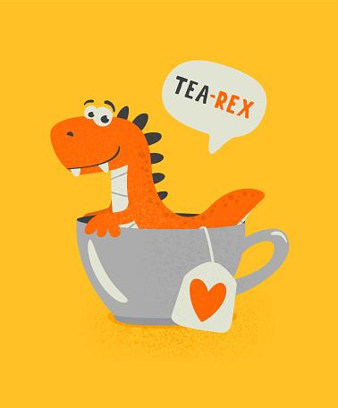 Tea Rex. Vector Funny and Cute Textured Cartoon Dinosaur in Tea Cup. Mug with Hot Tea Beverage and Hand Drawn Tyrannosaur Rex, T-rex. Kids, Children s Illustration, Print