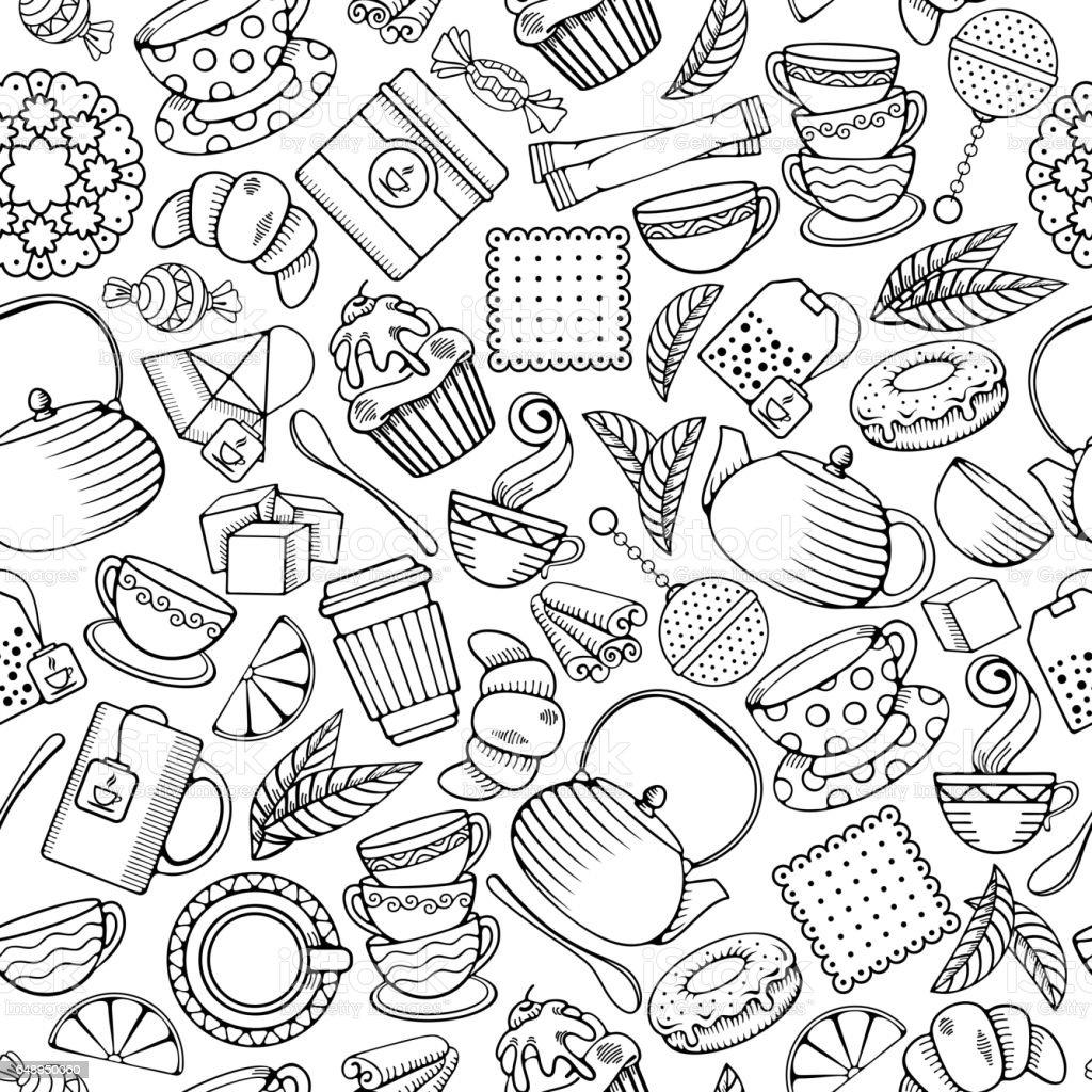Tea seamless pattern vector art illustration