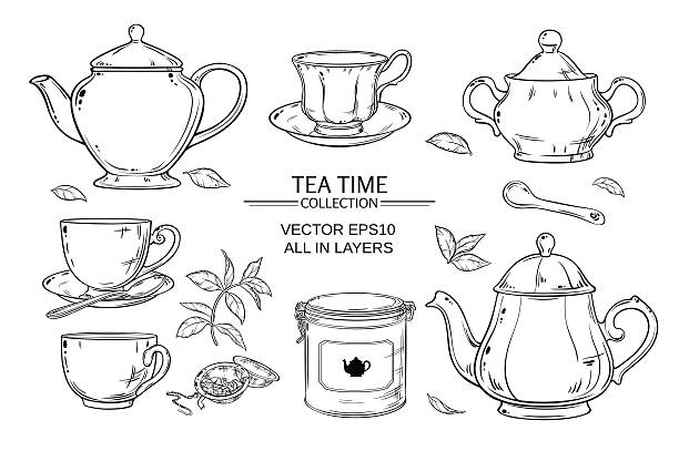 tea set on white background Vector set  with cups,  teapot,  sugar bowl, tin packaging and tea strainer on white background teapot stock illustrations