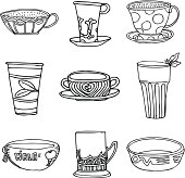 Vector Hand-Drawn Illustration of Tea Set in Black&White style (eps 8).