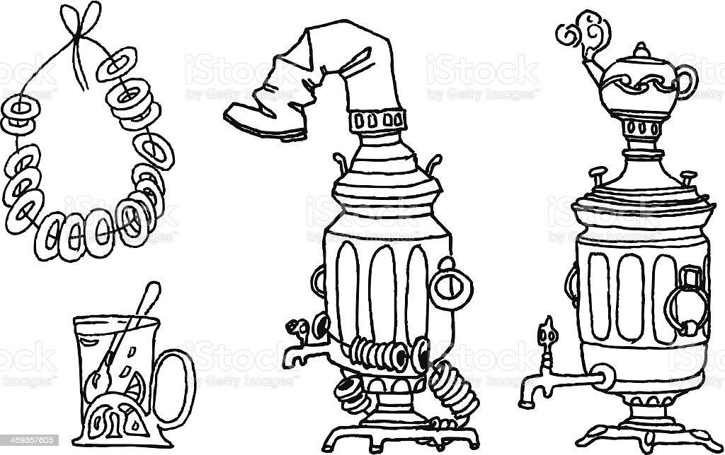 Tea Set vector art illustration