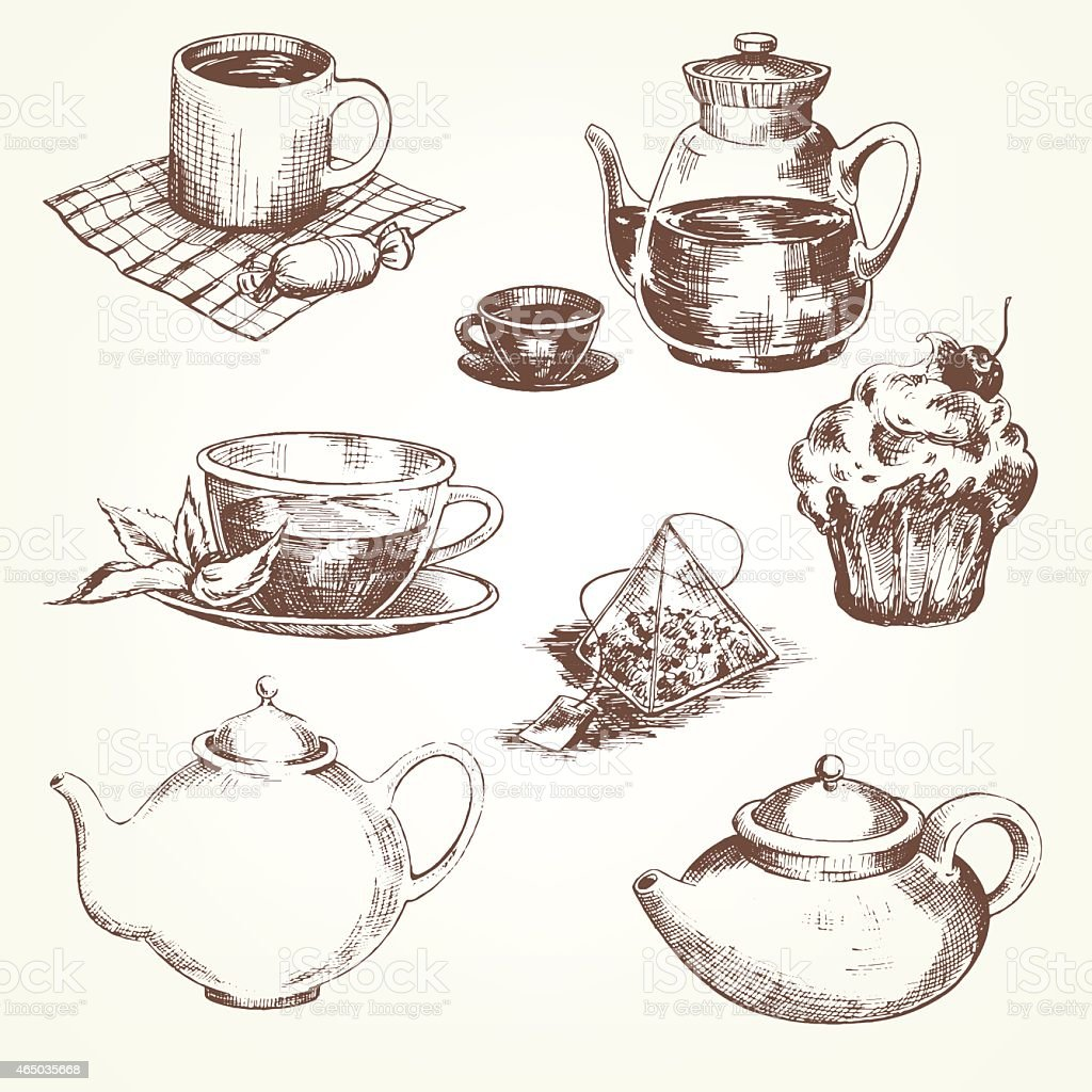 Tea set vector art illustration