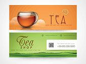 Tea shop web header or banner set.