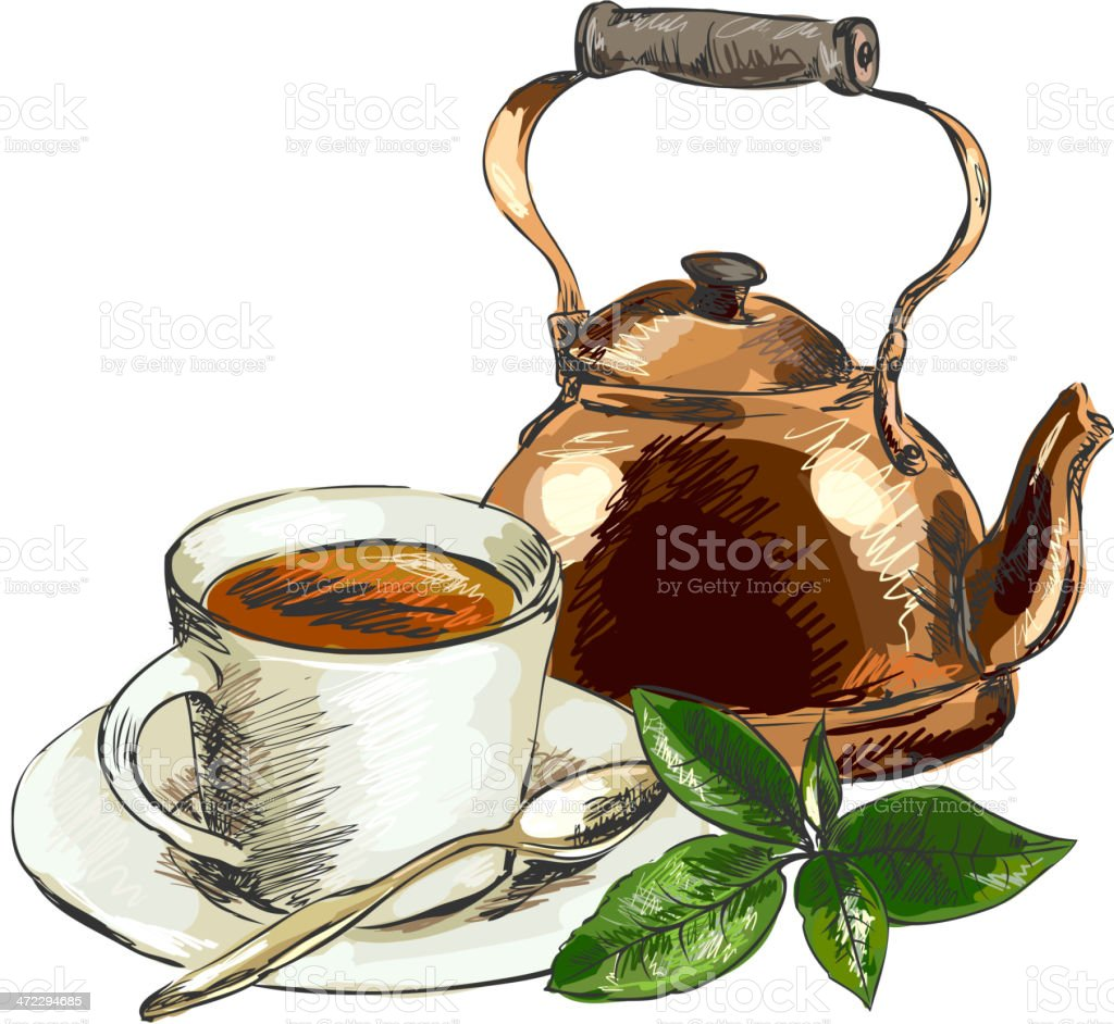Tea still life royalty-free stock vector art