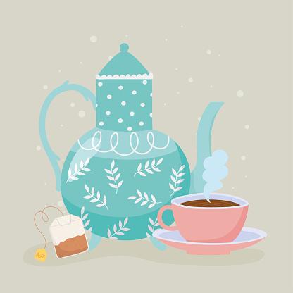 tea, teacup kettle and teabag hot beverage