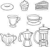 Tea time cakes and beverage in black and white