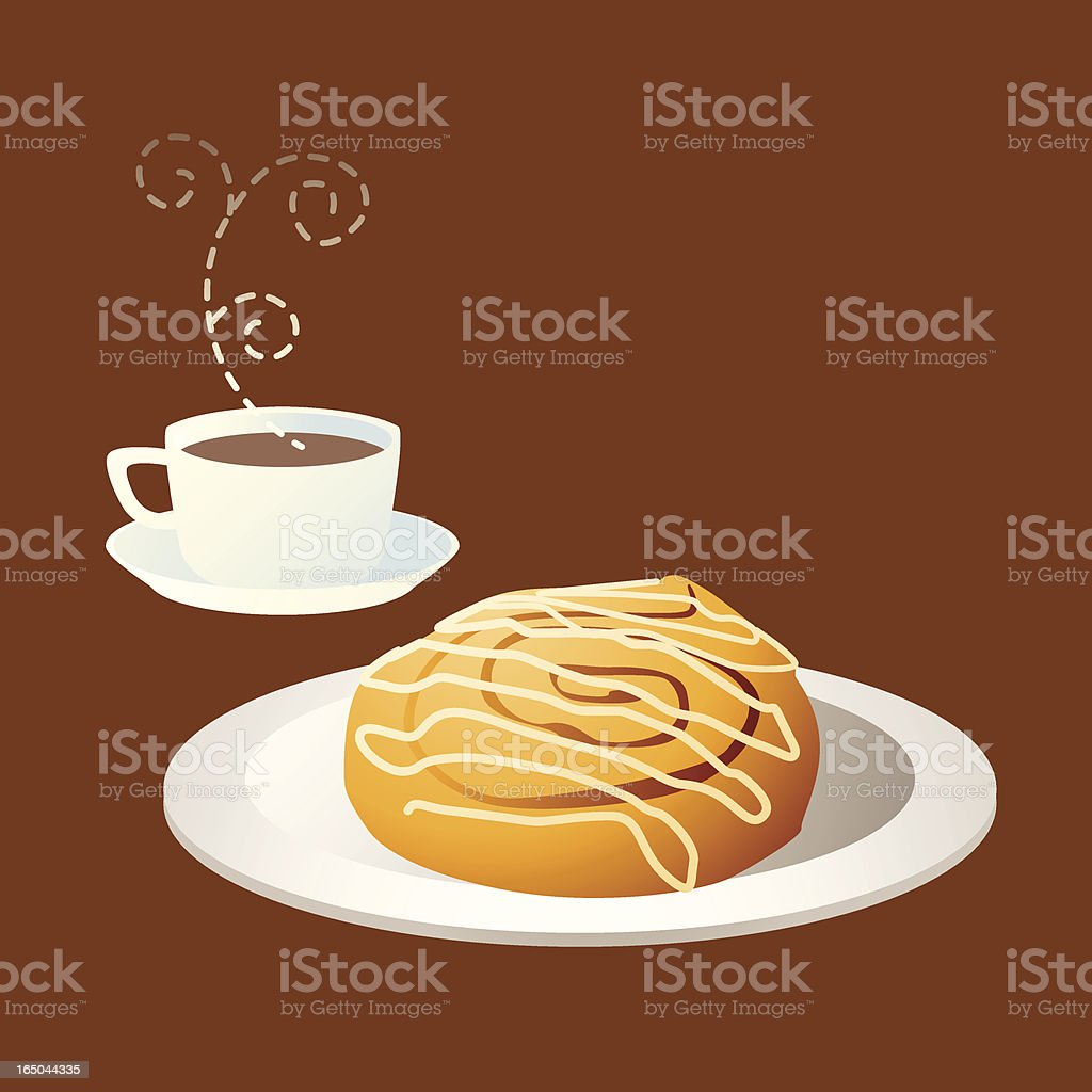 Tea time: coffee and cinnamon bun vector art illustration