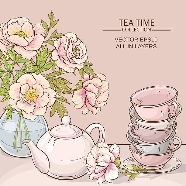 tea time color Illustration with cups, teapot and peonies  on color background teapot stock illustrations