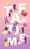 Tea Time Concept with Tiny Men and Women Drink Tea with Pastry, Rolling Lemon Slice to Huge Cup with Hot Tea, Festive Winter Time Party Poster, Banner, Flyer, Brochure Cartoon Flat Vector Illustration