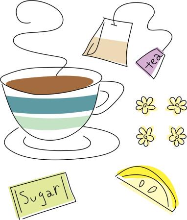 Tea Time Drawn Design Elements