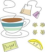 Everything you need for tea. Loose line drawing. Color on separate layer for easy editing. Zip file includes Illustrator CS2 AI file and Illustrator 8.0 eps file.