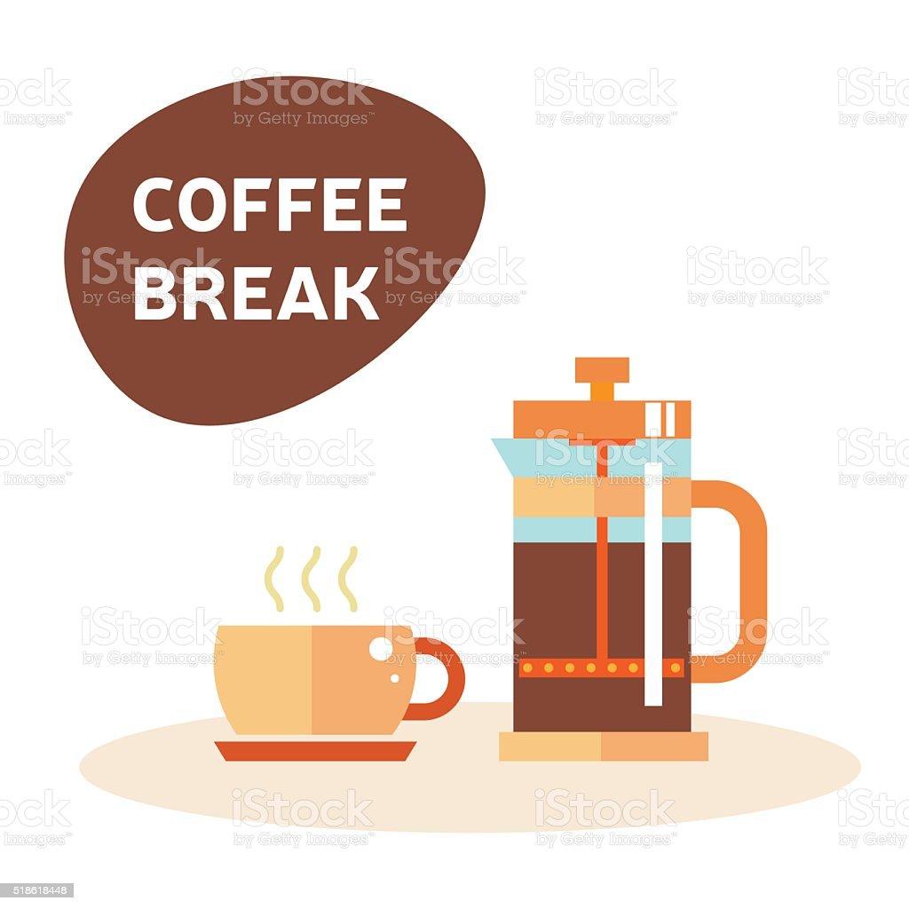 Tea time illustration, coffee break vector art illustration