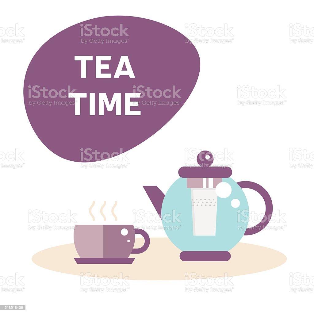 Tea time illustration vector art illustration