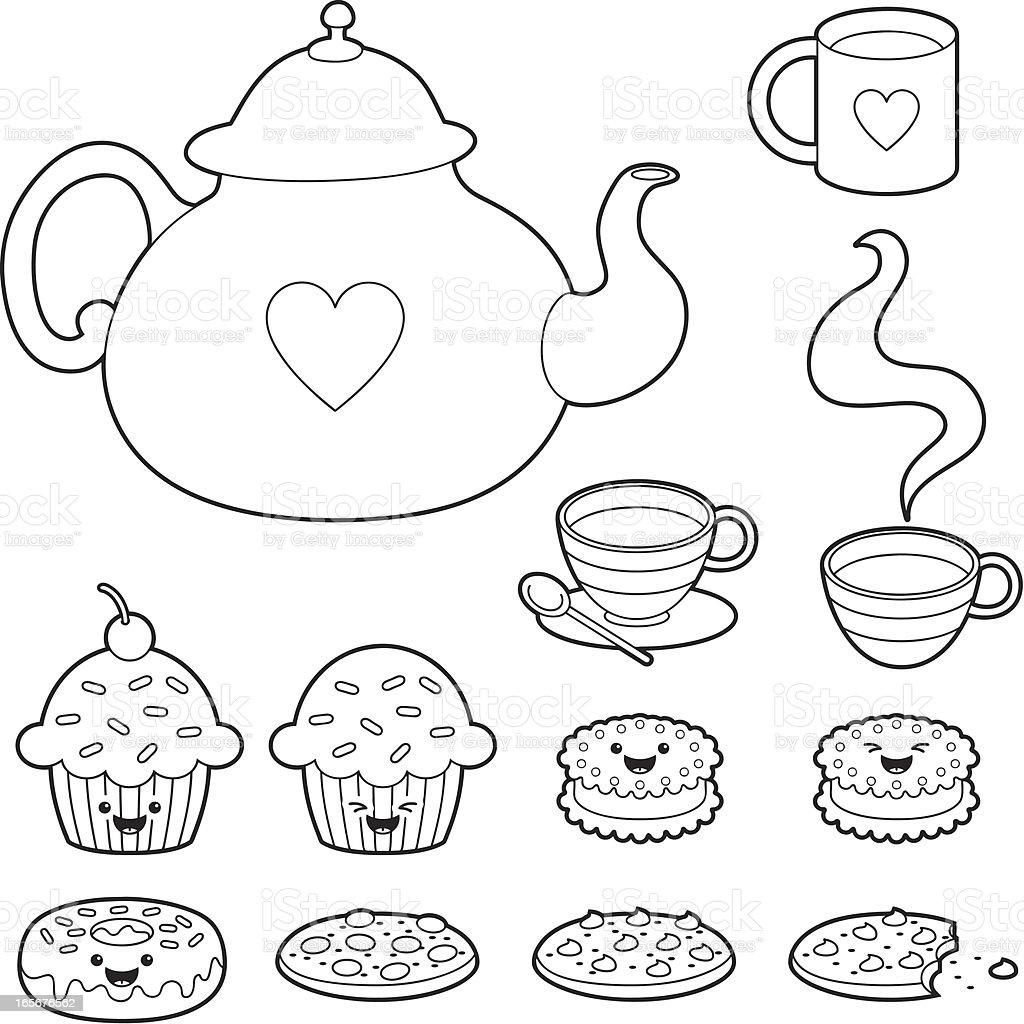 Tea time kawaii coloring set vector art illustration