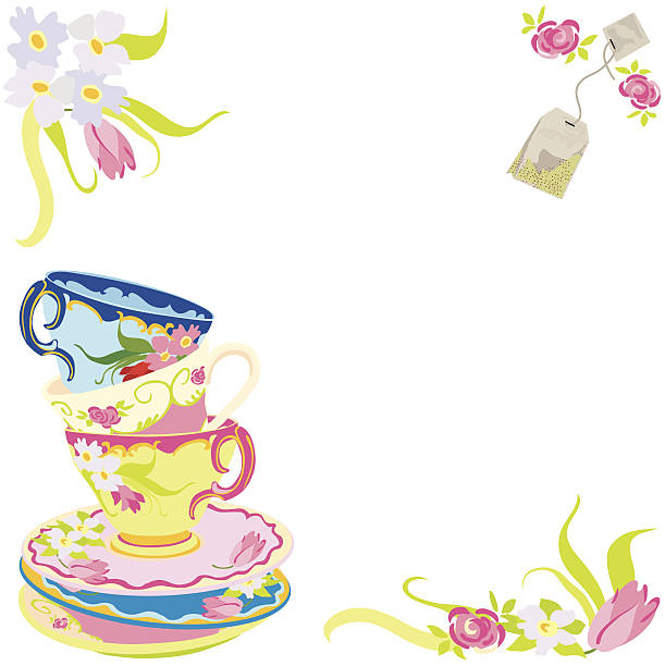 tea time party invitation - stacked tea cups stock illustrations, clip art, cartoons, & icons