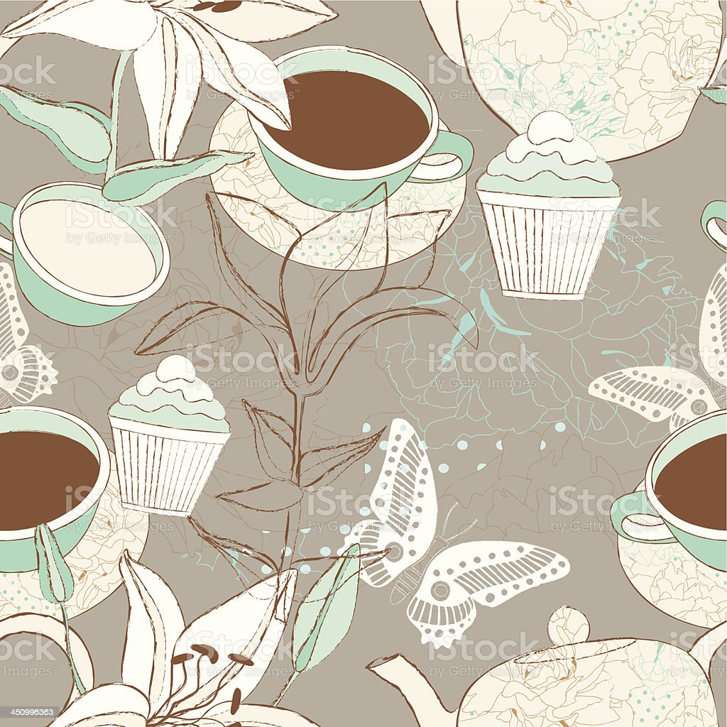 Tea time seamless background. royalty-free stock vector art