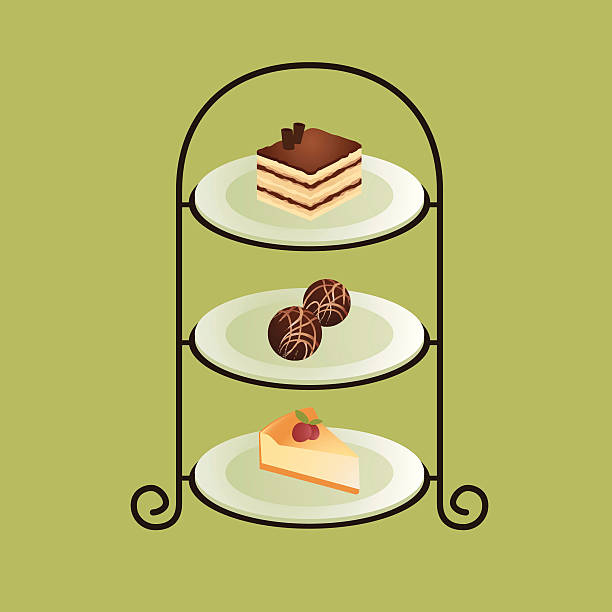 tea time (vektor - tiramisu stock-grafiken, -clipart, -cartoons und -symbole