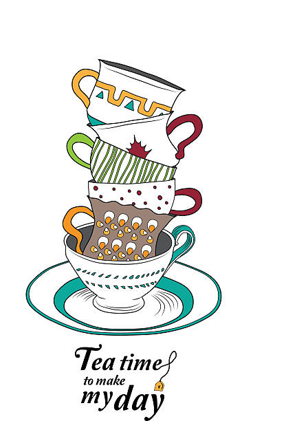 tea time - stacked tea cups stock illustrations, clip art, cartoons, & icons