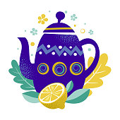 Tea time vector illustration. Teapot with abstract pattern and lemon fruit. Blue teapot on the leaves and citrus background. Restaurant, cafe menu, banner, flyer, card, home decor. Hygge concept