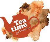 Tea time vector illustration. Teapot with watercolor background
