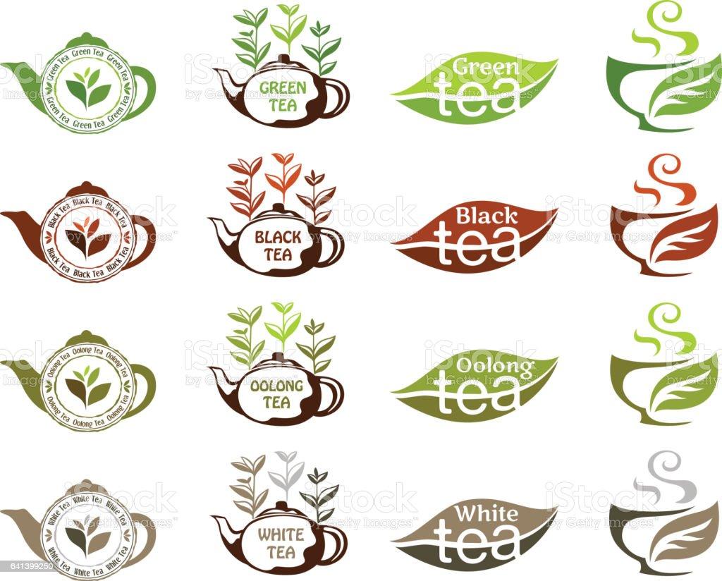 Tea types collection vector art illustration