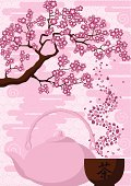 Abstract background with a branch of Japanese cherry tree, teapot and a drinking bowl of tea.